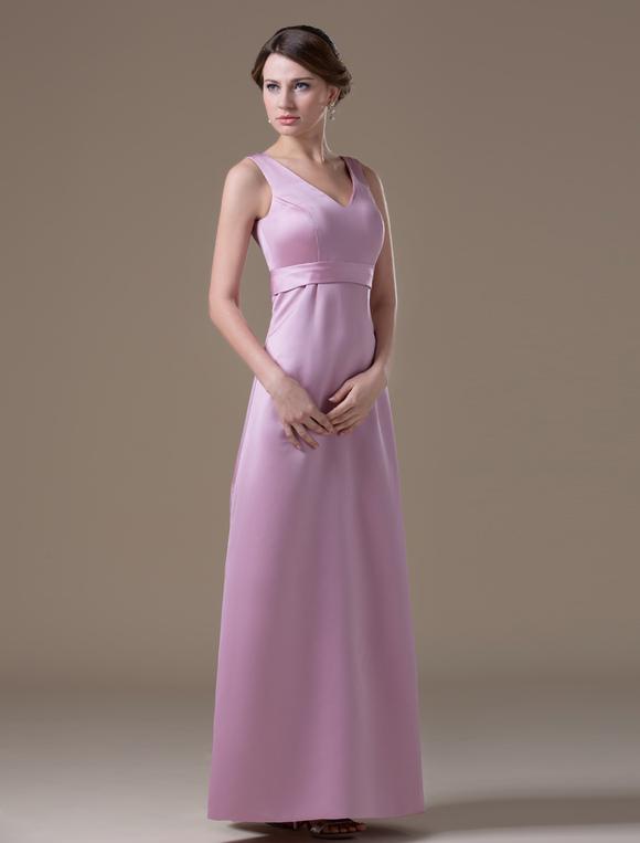 a2a1dc7feab5d Attractive Pink Satin V-neck Maternity Bridesmaid Dress - Milanoo.com