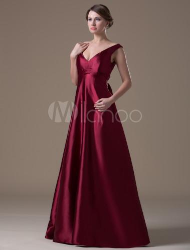 7fceda31e05 ... Burgundy Hot Spandex Satin Floor-length Maternity Bridesmaid Dress-No.3  ...