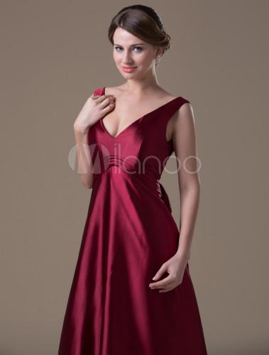 68b9711eeec ... Burgundy Hot Spandex Satin Floor-length Maternity Bridesmaid Dress-No.5  ...