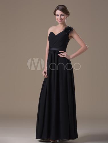 Chiffon One Shoulder Maternity Bridesmaid Dress Milanoo