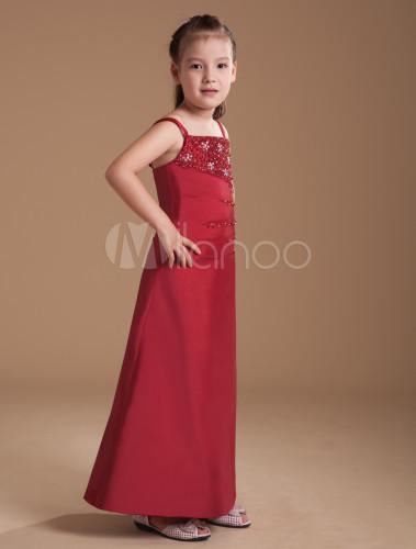 003f239ee ... A-line Burgundy Taffeta Junior Bridesmaid Dress with Spaghetti Straps  -No.2 ...