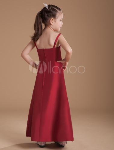 01c75f5de ... A-line Burgundy Taffeta Junior Bridesmaid Dress with Spaghetti Straps  -No.3 ...