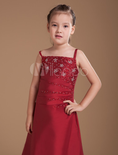 dc7b45fa9 ... A-line Burgundy Taffeta Junior Bridesmaid Dress with Spaghetti Straps  -No.4 ...