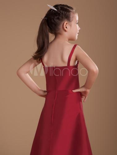 d74b2c4a4 ... A-line Burgundy Taffeta Junior Bridesmaid Dress with Spaghetti Straps  -No.6 ...