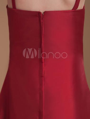 4657fe331 ... A-line Burgundy Taffeta Junior Bridesmaid Dress with Spaghetti Straps  -No.8
