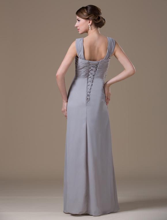 b8c0f1a46 ... Vestidos de damas para embarazadas de chifón gris con escote en V hasta  el suelo- ...