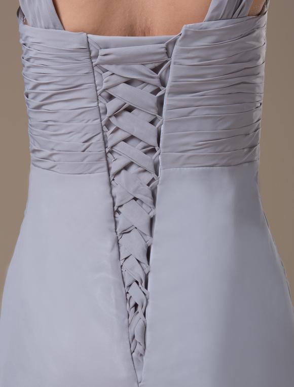 db39d3a5f ... Vestidos de damas para embarazadas de chifón gris con escote en V hasta  el suelo-