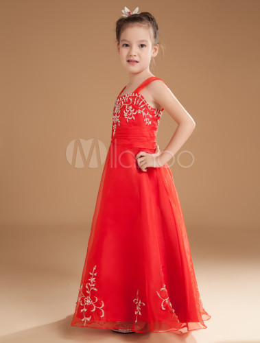 Romantic Red Satin Off The Shoulder Floor Length Little