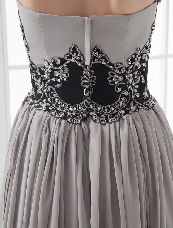 Grace gray chiffon strapless paillette decoration prom for Paillette decoration