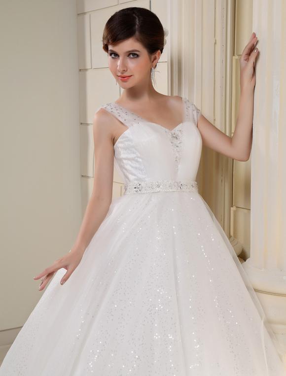 Vestido blanco bordado lentejuelas