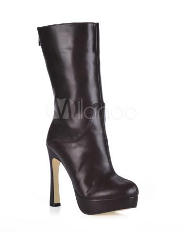 62fbadea9c0 ... High Heel Boots Coffee Brown Almond Toe Zip Up Mid Calf Boots Women  Shoes-No ...