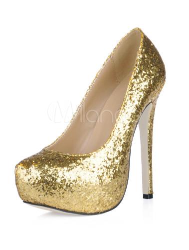 30e91e46cc ... Platform Stiletto Heel Sequin PU Womens Shoes-No.14 ...