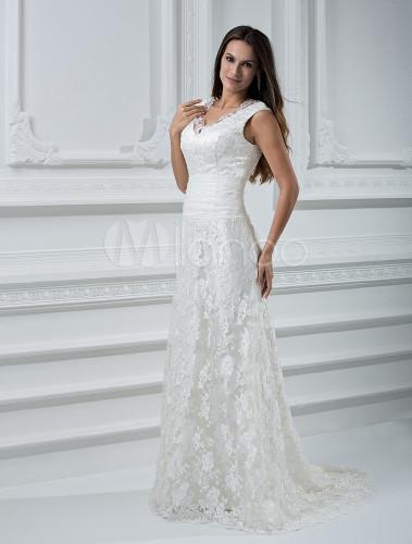 vestido de novia de encajes con cinturón sin mangas - milanoo