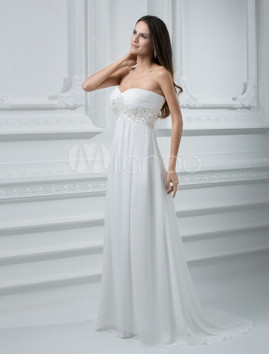 Sweep ivory chiffon wedding dress with empire waist for Ivory empire waist wedding dress