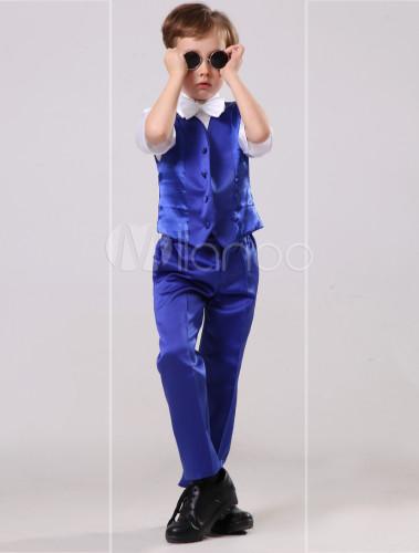 Vestidos de boda para niños de algodón de color azul real con ...