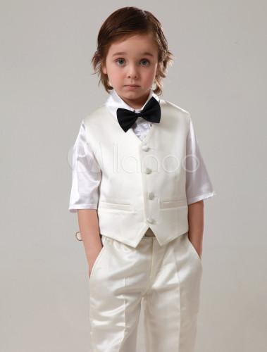 Vestidos de boda para niños de algodón de marfil con pantalones de ...