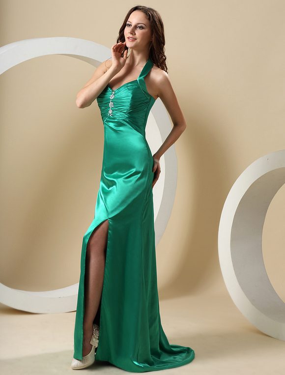 Hunter Green Halter Floor Length Elastic Woven Satin Prom