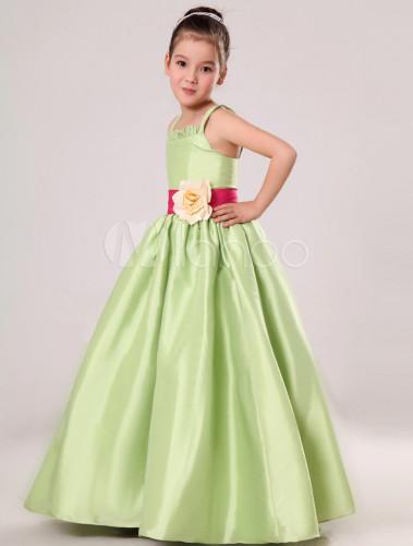 158668801437d Robe de cortège enfant en satin vert col carré avec fleur - Milanoo.com
