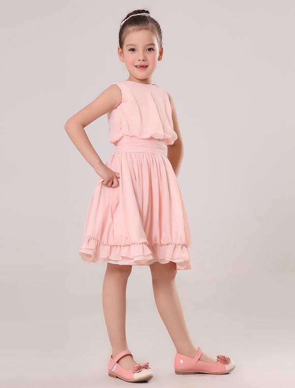 Girls Knee Length Chiffon Dress