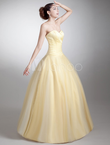 Ball Gown Daffodil Sweetheart Neck Tiered Net Prom Dress - Milanoo.com