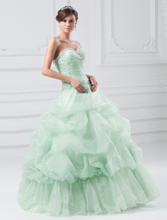 Organza Prom Dress Pastel Green Sweetheart Ball Gown Quinceanera ...