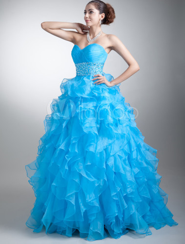 organza prom dress cyan sweetheart ball gown quinceanera. Black Bedroom Furniture Sets. Home Design Ideas