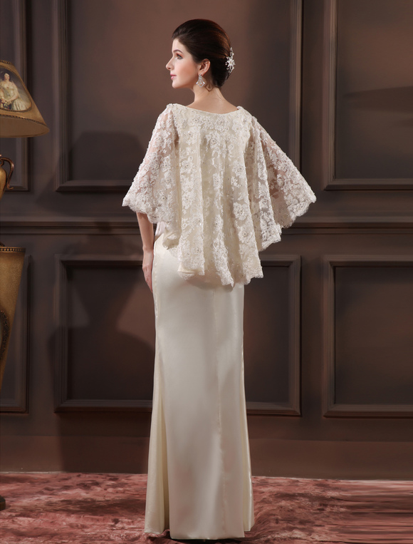 Elegant Ivory Lace V Neck Y Evening