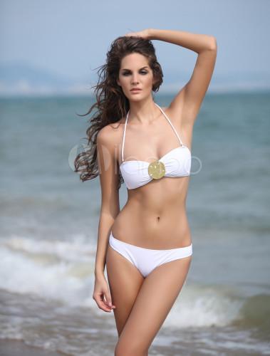 Costume da bagno bikini bianco sexy con scollatura sulla - Costume da bagno bianco ...