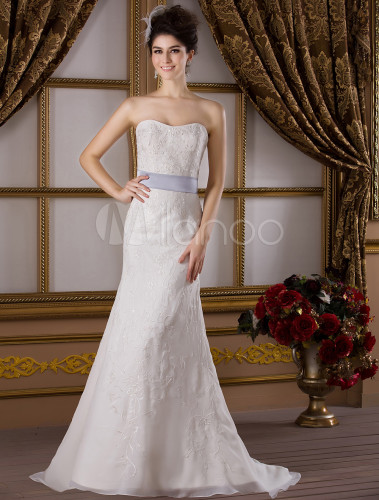 Ivory Mermaid Trumpet Sweetheart Beaded Sash Lace Satin