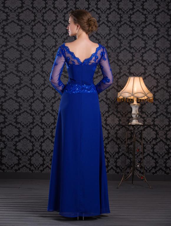 vestido para la madre de novia de chifón de azul francia con escote