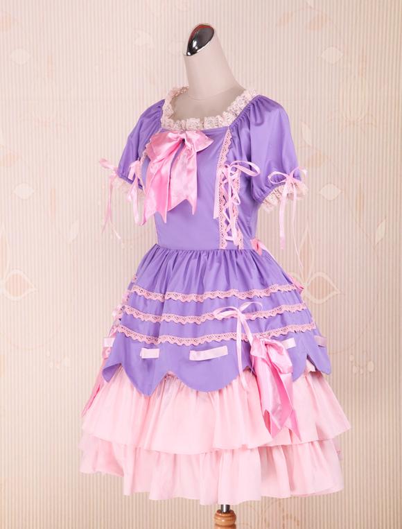 Sweet Purple Pink Lolita Op Dress Short Sleeves Layers