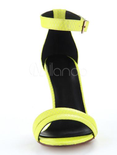 green pu leather snake print stiletto heel dress sandals