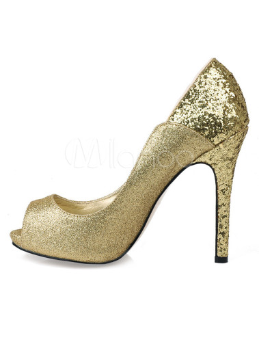 Zapatos Peep toe de tela con lentejuelas de color oro QM0hoclUr