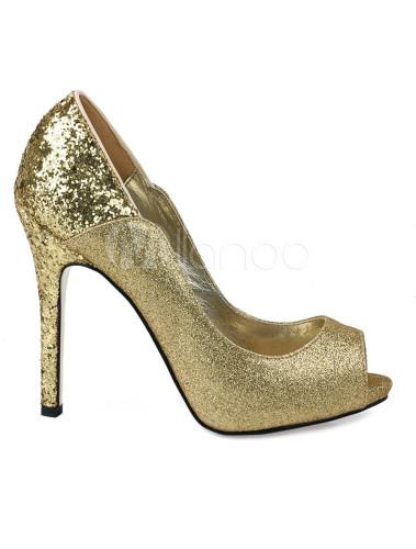 Zapatos Peep toe de tela con lentejuelas de color oro VpxqkWBdi9
