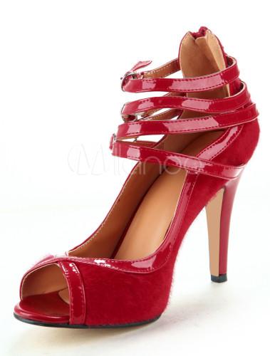 Zapatos Peep toe de piel de carnero de color rojo con tiras tin6rxF