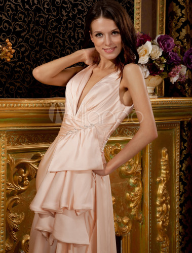 Champagne Silk Like Deep V Neck Short In Front Long In