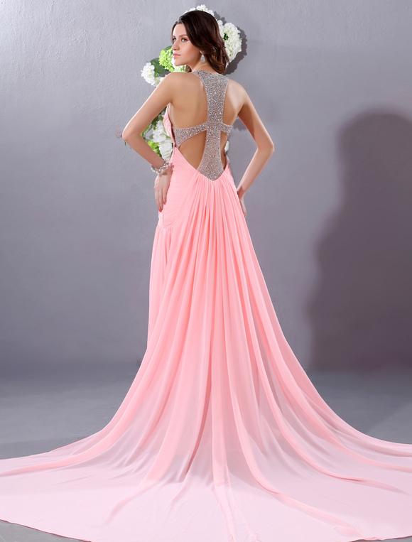 Rosa abendkleid r ckenfreie kleid chiffon perlen milanoo for Milanoo abendkleider