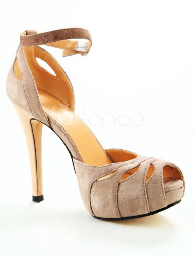 Zapatos Peep toe de PU de color desnudo con hebilla swc6TO07KA