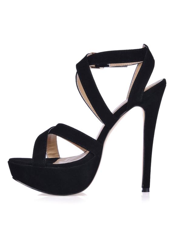 ... Sexy schwarze High-Heels aus Suedeleder mit kreuzenden Riemchen-No.2 ... 43f20db983