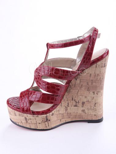 Sexy Burgundy Crocodile Print Pu Leather Womens Wedge Sandals