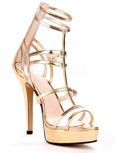 Sexy Gold Metallic Stiletto Heel Fashion Gladiator Sandals ...