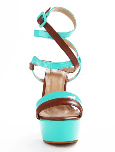 7f15143730a ... Sexy Lime Green PU Leather Chunky Heel Buckle Gladiator Sandals For  Woman-No.6. 12