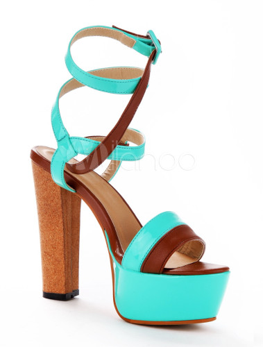 badc2fd4840 ... Sexy Lime Green PU Leather Chunky Heel Buckle Gladiator Sandals For  Woman-No.5 ...