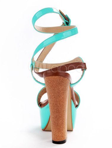 e0d696e67c2 ... Sexy Lime Green PU Leather Chunky Heel Buckle Gladiator Sandals For  Woman-No.3 ...