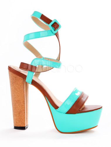 328787335d3 ... Sexy Lime Green PU Leather Chunky Heel Buckle Gladiator Sandals For  Woman-No.4 ...