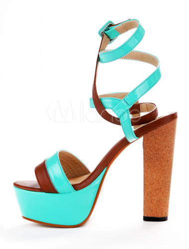 01488214837 ... Sexy Lime Green PU Leather Chunky Heel Buckle Gladiator Sandals For  Woman-No.2 ...