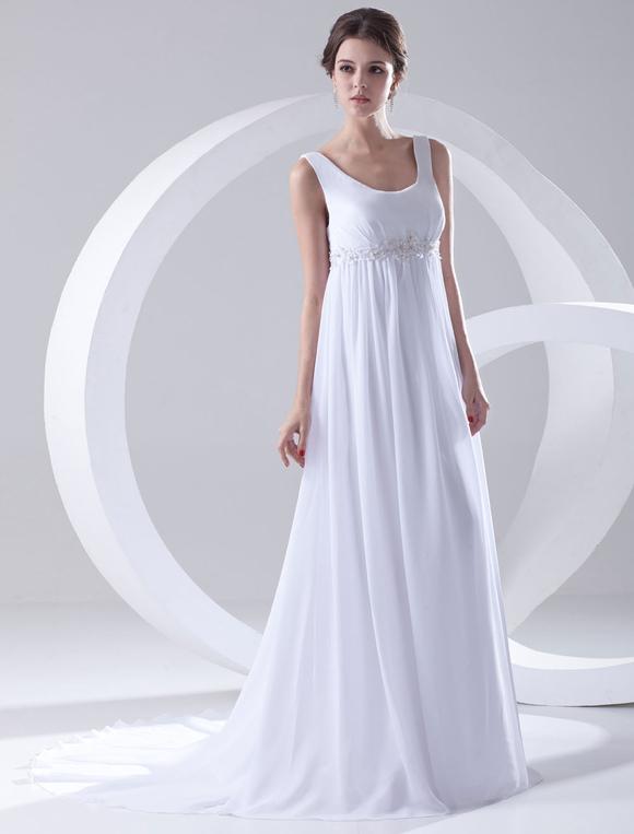 pas mal 630b2 e0403 Robe de mariage taille empire blanche en chiffon encolure dégagée