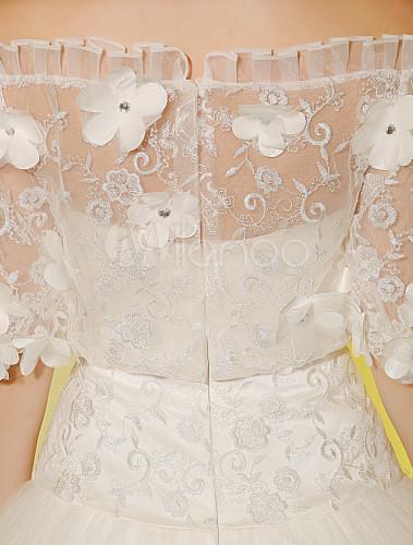 Robe pour mariage a ligne ivoire en dentelle d tail col for Robes pour mariage en ligne