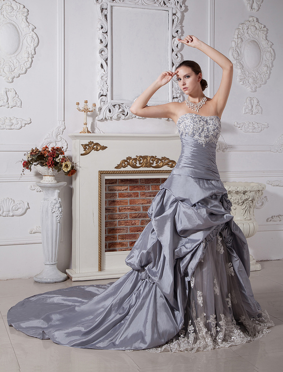 7bdbb1146360 ... Wedding Dresses Ball Gown Strapless Bridal Dress Silver Taffeta Lace  Beading Ruched Dropped Waist Court Train ...