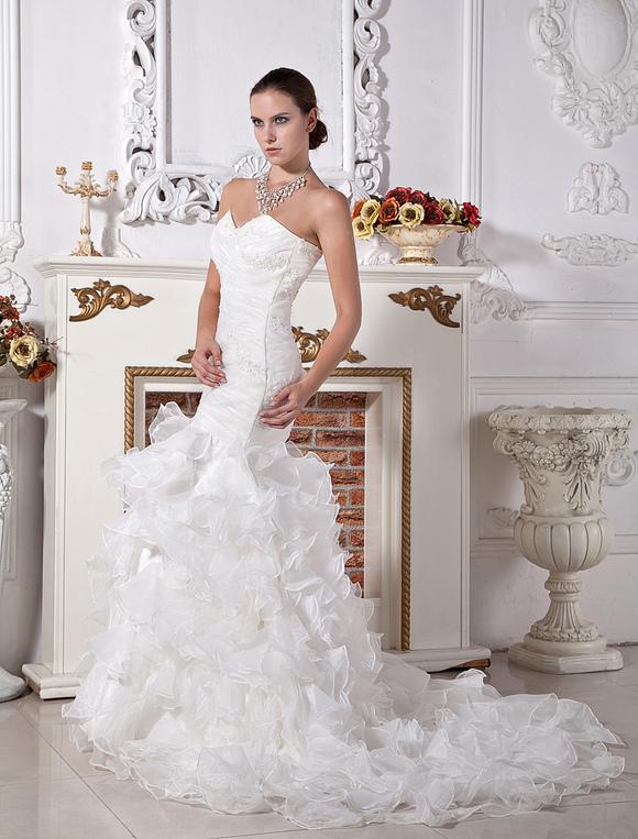 Wedding dresses mermaid trumpet ivory bridal gown satin for Ivory trumpet wedding dress